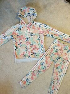 Adidas Tracksuit Girls Hoodie And Leggings Age 9-10 Grey Floral Multicolor