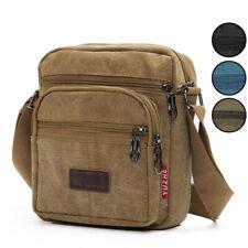Mens Retro Canvas Shoulder Bag Multi Pockets Casual Crossbody Messenger Bags