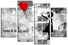 Banksy Bambina Con Palloncino Rosso QUADRO TELA ROSSO GRIGIO NERO SPLIT Wall Art 100 cm