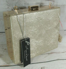 Love Waves Gold Metallic Box Clutch Shoulder Bag Tagged