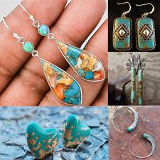 Vintage Women Jewelry 925 Silver Dangle Ear Stud Turquoise Hook Earrings