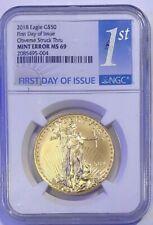 2018 $50 Gold Eagle Mint Error NGC MS 69 FDOI