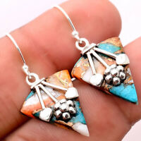 Spiny Oyster Turquoise - Arizona 925 Sterling Silver Earrings Jewelry 7971