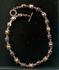 Brown and Amber Coloured Petrified Wood, Crystal and Copper Necklace