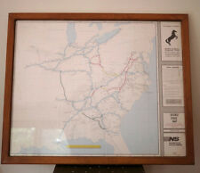 Vintage 1994 NORFOLK SOUTHERN Double Stack Train Route Map Poster Frame UV 25x30
