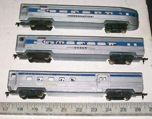 3 X 1970's TYCO AMTRAK & B.&O.HO Streamlined Illuminated Passenger Car Train Set