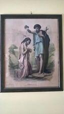 Antica Stampa Di Pregio, battesimo Di Gesù, In Cornice Antica Di Legno