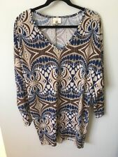 Birdcage Anthropologie Blue & Brown Geometric Print Dress, Size Large