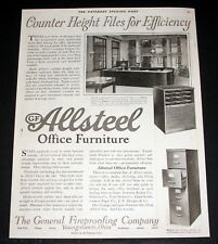 1921 OLD MAGAZINE PRINT AD, ALLSTEEL OFFICE FURNITURE, GF FILES FOR EFFICIENCY!
