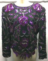 Lawrence Kazar Beaded Sequin Party Silk Floral Top XL Black Purple New York