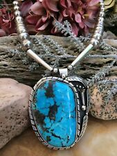 MASSIVE VINTAGE NAVAJO STERLING MORENCI TURQUOISE W/ PYRITE PENDANT NECKLACE WOW