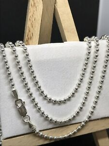 925 REAL GENUINE STERLING SILVER BALL CHAINS NECKLACE  ALL SIZES