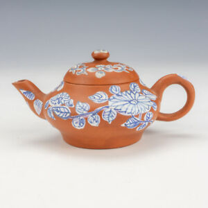 Antique Chinese Miniature Blue Flower Decorated Terracotta Yixing Teapot