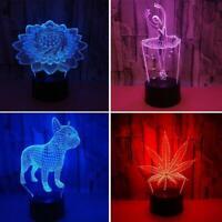 7 Farben ändern 3D LED Illusion USB Fernbedienung Tisch Nachtlicht Lampe