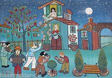 Nari OTTAVIANO (1925-2002) Naive Kunst aus Italien THERESA Gemälde auf Leinwand