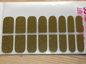 Self-Adhesive Glittery Nail Stickers 16 Pieces Gold Mix BNIP