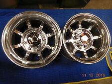 "PAIR VINTAGE 8-LUG 16.5 x 9-3/4"" WESTERN BULLET WHEELS CHEVY 4x4 FORD DODGE VAN"