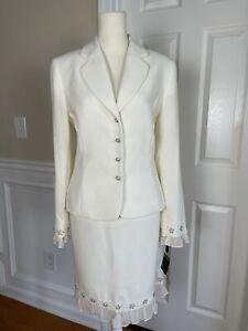 TAHARI LUXE Ivory Polyester Beaded Lined Notch Collar Ruffle Skirt Suit Size 8