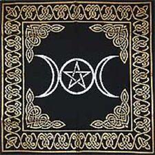 "Gold on Black Triple Moon Pentagram Altar / Tarot Cloth 24"" x 24"""