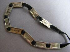 Antique Sterling Silver Engraved Initials Bobolink Vintage Ribbon Panel Bracelet