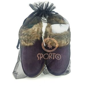 Sporto Purple Suede Leather Faux Fur Women's Slippers Size SMALL 5/6 NEW w/ Bag