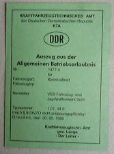 grüne blanco Betriebserlaubnis SIMSON S 51 UNI Simson KR 51/2  ABE  KTA DDR