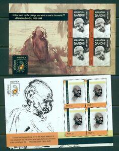 Nevis - Sc# 1650-1. 2011 Mahatma Gandhi. Mini Sheets of 4. MNH $20.00+