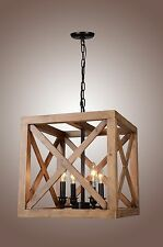 New 4 Bulbs Walnut Collingwood Chandelier Square Wood Geometric Dia 15''