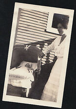 Vintage Antique Photograph Mom Standing With Adorable Baby in Wicker Carriage