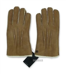 UGG Sheepskin Touch Chestnut Leather Suede Fur Gloves Mens Size Large L *NWT*