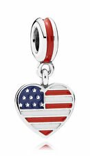 Authentic Genuine Pandora Sterling Silver Enamel USA Heart Flag Charm 791548ENMX