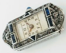 Ladies Vintage Art Deco  White Gold plated Watch with rhinestones and Sapphires