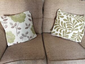 Cushion Covers x 2 Green Beige Natural Floral Zip