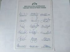 1995 Australia Cricket Coca Cola Tour of West Indies Pre Printed Autograph Sheet
