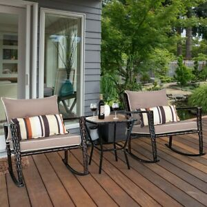 3pcs Rattan Garden Bistro Set 2 Rocking Ergonomic Back Coffee Seat Extra Waist