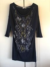 Womens Esprit Navy Tribal Print Drape Neck Hem Tie Up T-shirt Dress Size S/M
