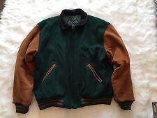 VTG Brooks Brothers Wool Leather XL Green Letterman Varsity Jacket A18