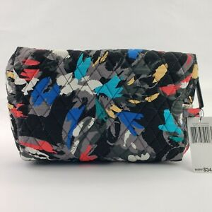 Vera Bradley COSMETIC Case Travel Bag Black Multi Color Abstract Quilted Cotton
