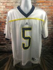 Michigan Wolverines College Football Jersey White Adidas #5 Medium