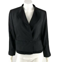 Ann Taylor Blazer Size 12 Petite Black Double Breasted Career Suit Jacket Womens