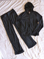 NEW Black Velour Women's TRACK SUIT Sweats Lounge Pants & Hoodie Sz L