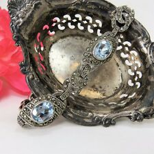 "Antique 7 1/4"" Sterling Silver Marcasite & Genuine Blue Topaz Bracelet, Quality"
