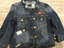 Ranbeeri womens Hipster Jean Jacket Dark Blue Wash Size Med NWT
