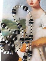 VINTAGE ART DECO NECKLACE ORIGINAL BLACK & Frosted GLASS RHINESTONES Neu Gablonz