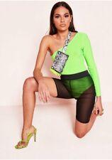 New Womens One Shoulder Plain Long Sleeve Stretchy Leotard Bodysuit T-Shirt Top