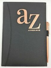 Telephone Address Book A-Z Index Hard Back Cover With Pen A5 Address Book BLACK