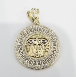 10k White Yellow Gold Medusa Head Charm Pendant medallion Greek Key CZ Cubic
