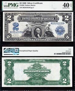 Amazing Crisp HIGH GRADE 1899 $2 AG/MECHANICS Silver Cert.! PMG 40 EPQ! 45539