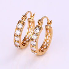 """9ct 9K Yellow """"Gold Filled"""" Ladies White Stone Small Hoop Earrings. 22mm Gift"""