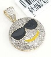 Real 10K Yellow Gold Natural Diamond Smile Face Emoji Glasses Cool Charm Pendant
